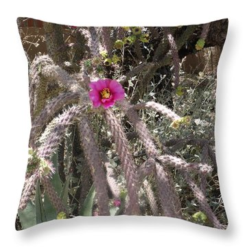 Flower Is Pretty In Pink Cactus Throw Pillow