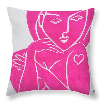 Pretty In Pink Tattoo Girl Poster Print  Throw Pillow