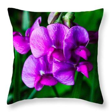 Pretty In Pink Wild Orchids Throw Pillow by John Haldane