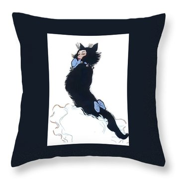 Throw Pillow featuring the digital art Pretty Kitty by ReInVintaged