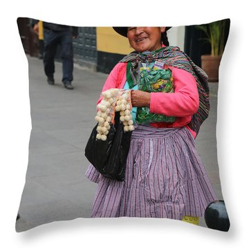Pretty Lady In Lima Peru Throw Pillow