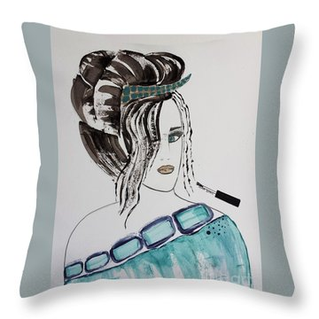 Pretty Lady Throw Pillow