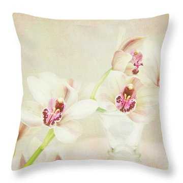 Pretty Orchids Throw Pillow