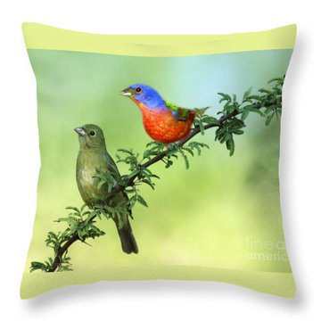 Pretty Painted Buntings Perched Throw Pillow
