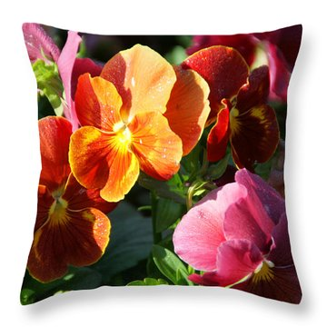 Pretty Pansies Throw Pillow