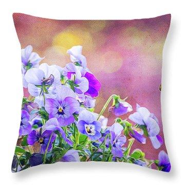 Pretty Pansies Throw Pillow