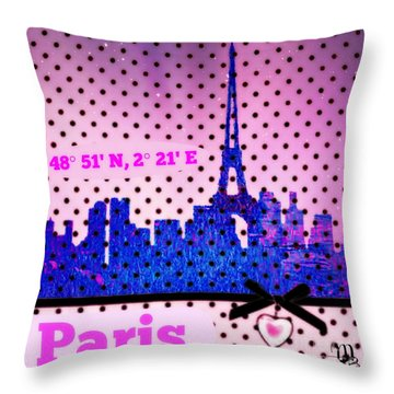 Throw Pillow featuring the digital art Pretty Paris Mjb by Mindy Bench