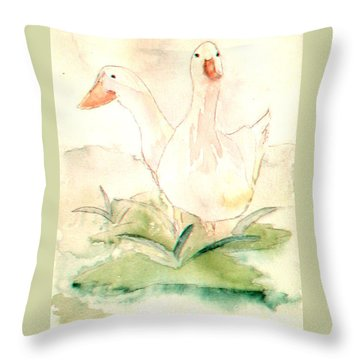 Throw Pillow featuring the painting Pretty Pekins by Denise Tomasura