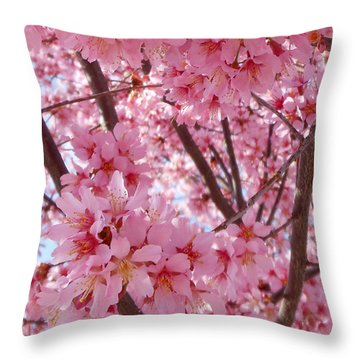 Pretty Pink Cherry Blossom Tree Throw Pillow