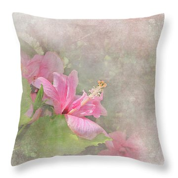 Pretty Pink Hibiscus Throw Pillow