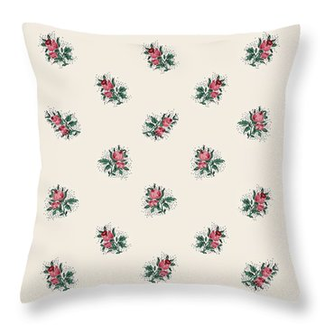 Pretty Pink Roses Girly Vintage Wallpaper Pattern Throw Pillow