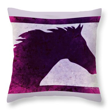 Throw Pillow featuring the digital art Pretty Purple Horse  by Mindy Bench