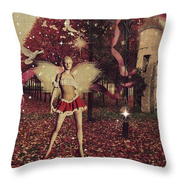 Throw Pillow featuring the digital art Pretty Red by Riana Van Staden