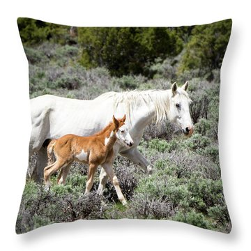 Pretty White Mustang Mare With Her New Foal - Sand  Wash Basin Throw Pillow