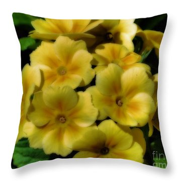 Pretty Yellow Primrose Throw Pillow