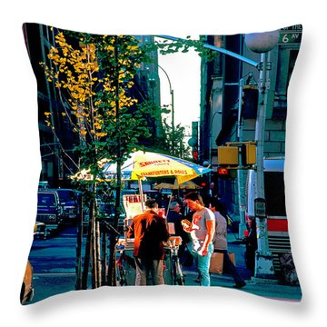 Hot Dog Stand Nyc Late Afternoon Ik Throw Pillow