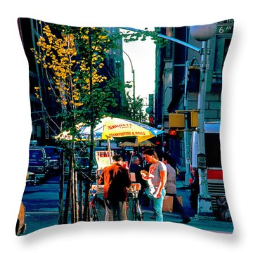 Throw Pillow featuring the photograph Hot Dog Stand Nyc Late Afternoon Ik by Tom Jelen