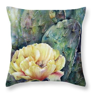 Throw Pillow featuring the painting Prickly Blossom by Mary McCullah