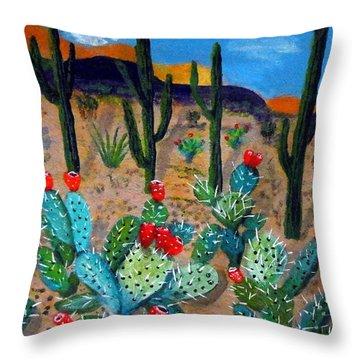 Prickly Pear Cactus Tucson Throw Pillow