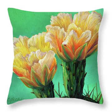 Prickly Pear Buds Throw Pillow