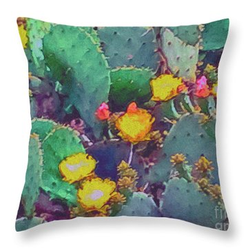 Prickly Pear Cactus 2 Throw Pillow by Methune Hively