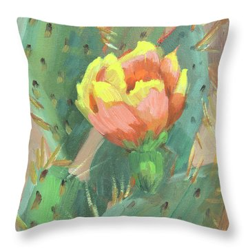 Throw Pillow featuring the painting Prickly Pear Cactus Bloom by Diane McClary