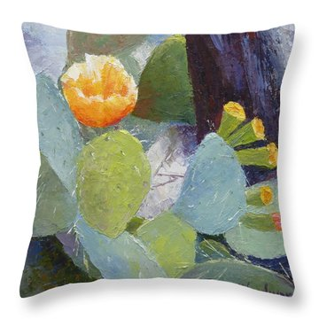 Prickly Pear In Bloom Throw Pillow