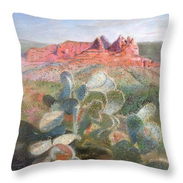 Throw Pillow featuring the painting Prickly Pear In Sedona, Arizona by Nancy Lee Moran