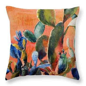 Prickly Pear Throw Pillow by Lynee Sapere