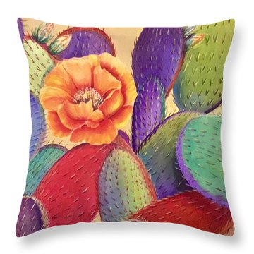 Prickly Rose Garden Throw Pillow