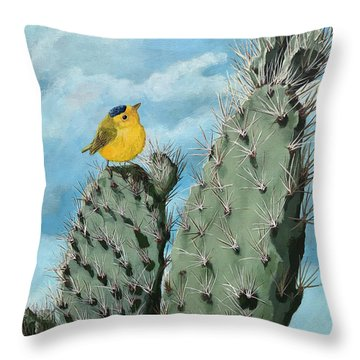 Prickly View - Wildlife Painting Throw Pillow