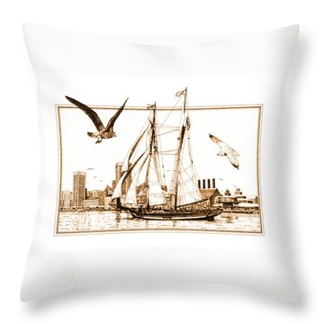 Pride Of Baltimore Throw Pillow by John D Benson