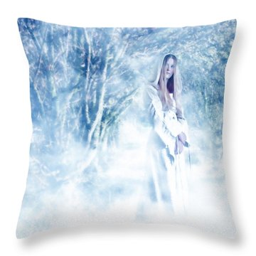 Priestess Throw Pillow by John Edwards