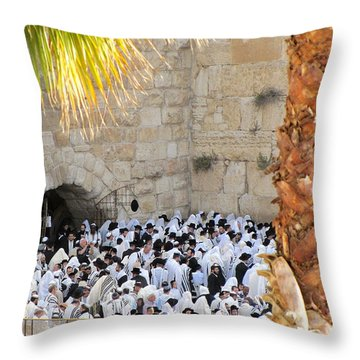 Prayer Of Shaharit At The Kotel During Sukkot Festival Throw Pillow by Yoel Koskas