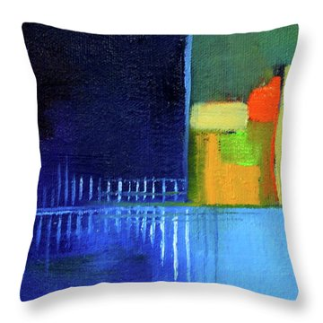 Throw Pillow featuring the painting Primary Blue Abstract by Nancy Merkle