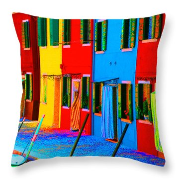 Throw Pillow featuring the photograph Primary Colors Of Burano by Donna Corless
