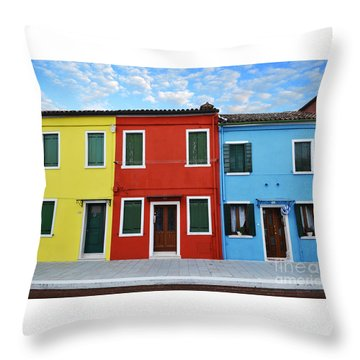 Primary Colors Too Burano Italy Throw Pillow by Rebecca Margraf