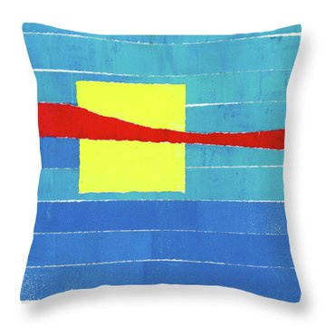 Primary Stripes Collage Throw Pillow