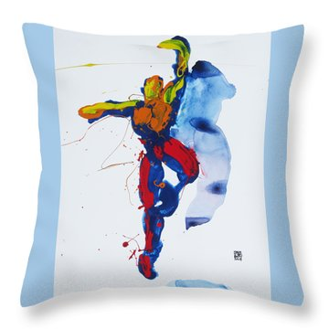 Primary Vertical Jump Shadow Throw Pillow by Shungaboy X
