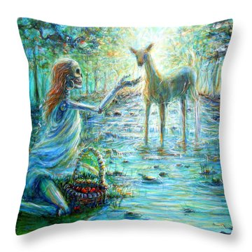 Throw Pillow featuring the painting Primavera Forest Of New Life by Heather Calderon