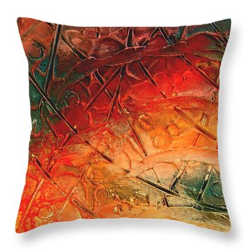 Primitive Abstract 1 By Rafi Talby Throw Pillow by Rafi Talby