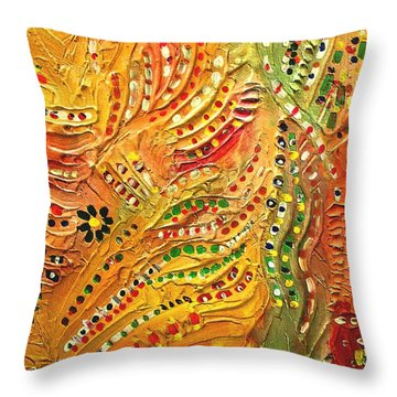 Primitive Abstract 3 By Rafi Talby Throw Pillow by Rafi Talby