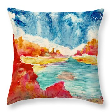 Primordial Landscape Throw Pillow