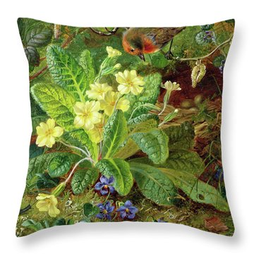 Primrose And Robin Throw Pillow by William John Wainwright