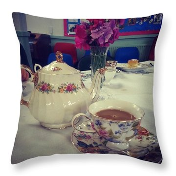 Primrose Vintage Tea Throw Pillow