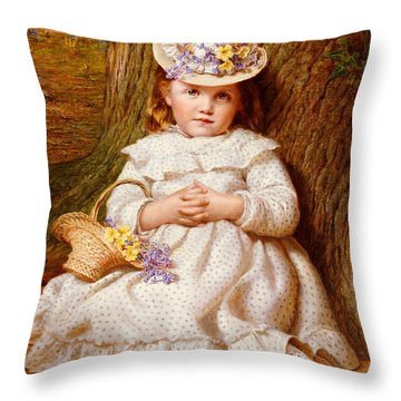 Primroses And Bluebells Throw Pillow