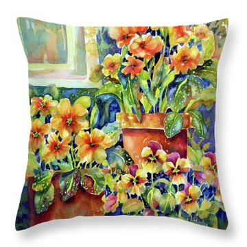 Primroses And Pansies II Throw Pillow