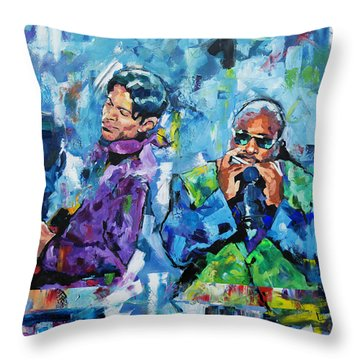 Prince And Stevie Throw Pillow