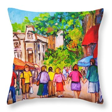 Throw Pillow featuring the painting Prince Arthur Street Montreal by Carole Spandau