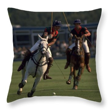 Prince Charles Playing Polo Throw Pillow